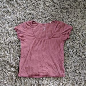 Redish purple square neck ribbed top